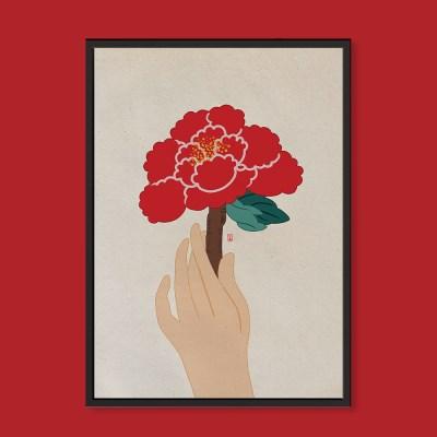 붉은 모란 한송이 - 민화 일러스트 액자