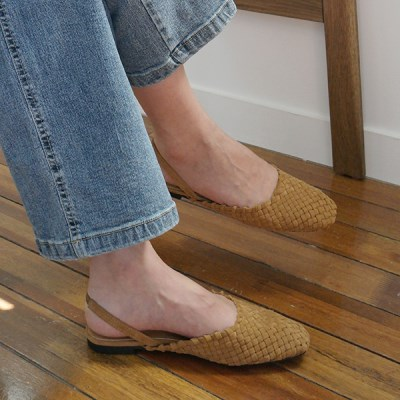 Soft weave suede flats