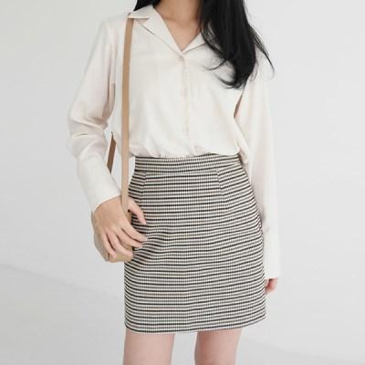 Concise check mini skirt