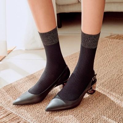 카프리 고급 메탈사 광택 발목 포인트 패션양말