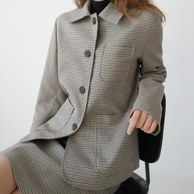 Subdued check short jacket