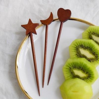 대추나무 옻칠 우드 픽 (3 type) 과일 포크