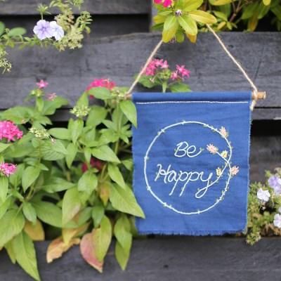 프랑스자수 가랜드 DIY 키트 - 비해피 Be happy
