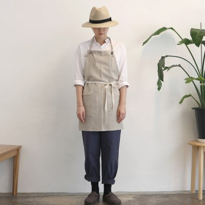stripe short apron _ beige