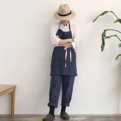 stripe short apron _ navy