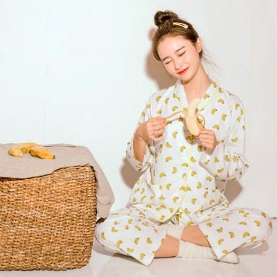 [안녕잘자] 당일발송 바나나 긴팔 잠옷세트 (2color)