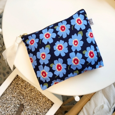 패브릭파우치 Fabric pouch - FLOWER BLUE