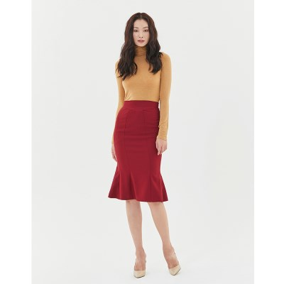 Wave Mermaid Skirt in Red