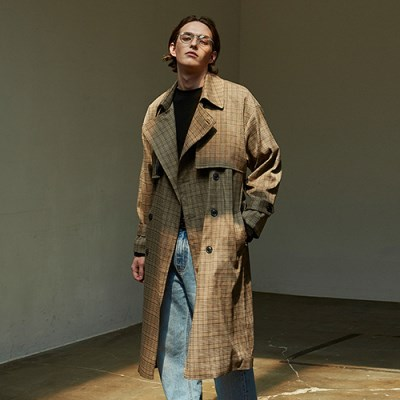 LONG FLAP CH TRENCH COAT_BROWN