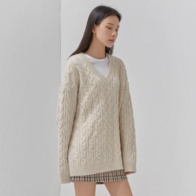 thick twist v-neck wool knit_(1058757)