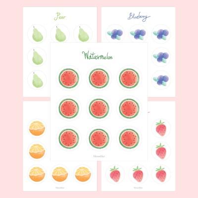 과일 원형 스티커 10종 세트