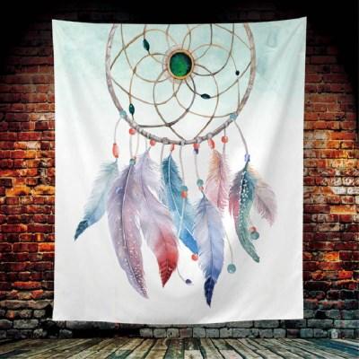 태피스트리 벽장식 패브릭 포스터 - 깃털 드림 캐쳐 (세로형)