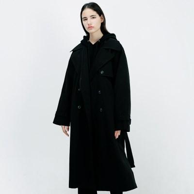 아더로브 오버핏 레글런 트렌치 코트 ACT183001-BK