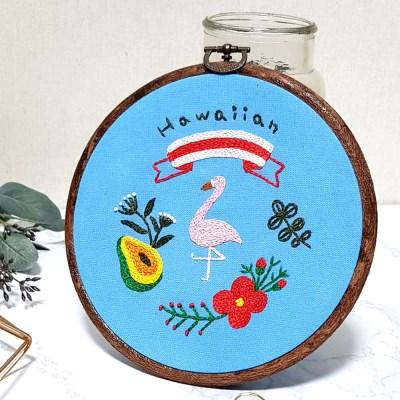 하와이안 플라밍고 액자 틀 프랑스자수 패키지 도안 DIY 세트