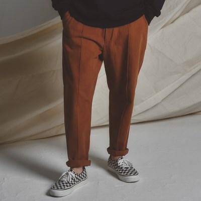 STG pintuck wide pants CAMEL BR