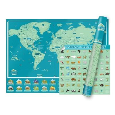 [럭키스] 영국 정품 스크래치 맵 세계지도 와일드월드_(1449364)