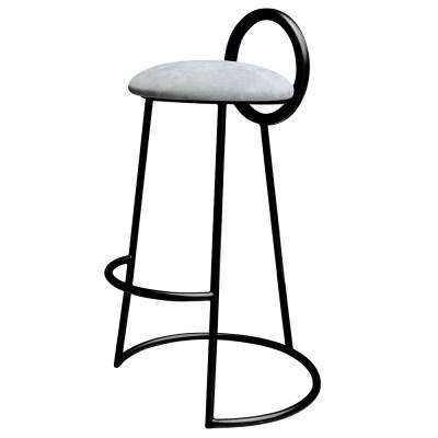 Hoop Bar Stool _ Light gray (Matt black frame)