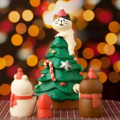 데꼴 2018 크리스마스 고양이트리 피규어 한정판