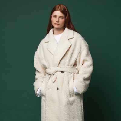 [어나더프레임] FLEECE DOUBLE BUTTON COAT (IVORY)_(908410)