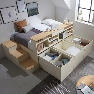 동서가구 수납평상 이층침대+계단+책장