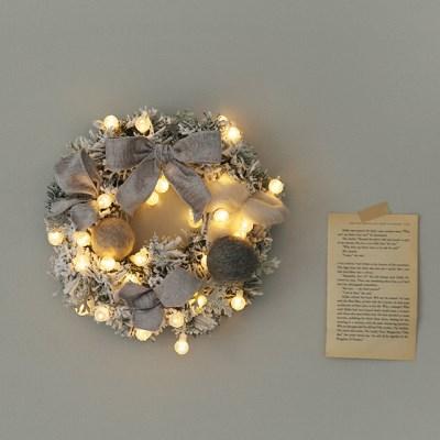 NEW 포근리본 스노우리스 + LED전구set (그레이)_(612017)