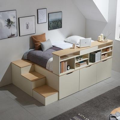 동서가구 수납평상 이층침대+계단+책장+싱글본넬매트