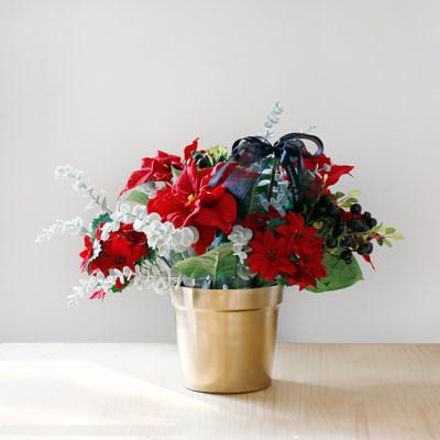 크리스마스 포인세티아 인테리어 골드장식 SET