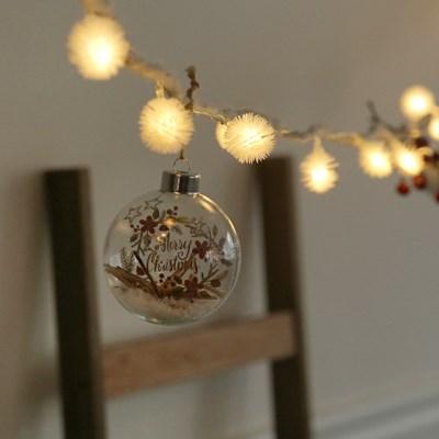 눈꽃내린 메리크리스마스유리볼 + LED전구set [3size]_(615873)