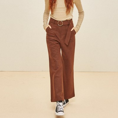 WOOL WIDE RING SLACKS BROWN