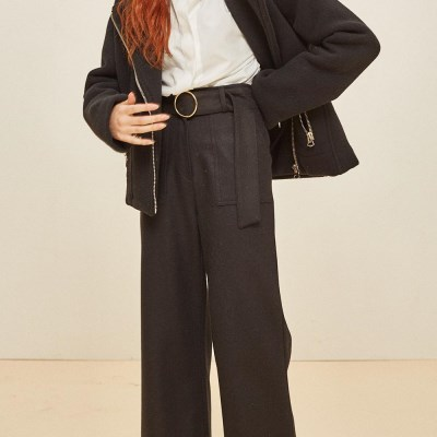 WOOL WIDE RING SLACKS BLACK