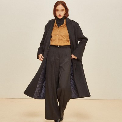 WOOL PORT DOUBLE COAT BLACK