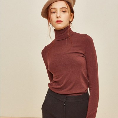 TRUE WOOL TURTLE NECK WINE