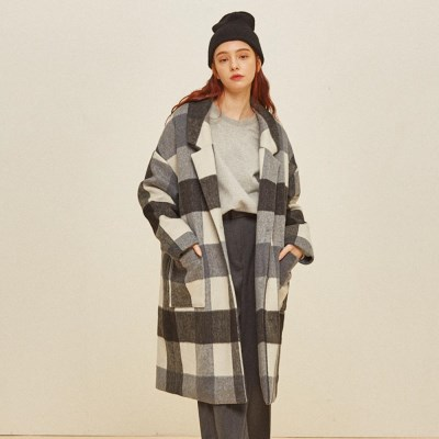 CHESS WOOL SINGLE COAT BLACK