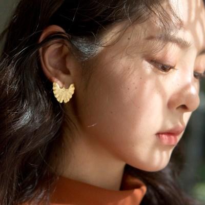 gold ginkgo leaf earrings