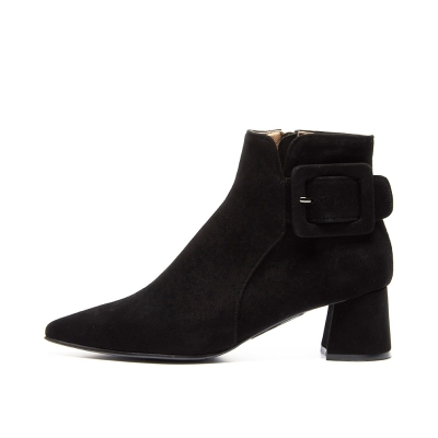 Pointed ankle boots Black_5cm (양가죽)