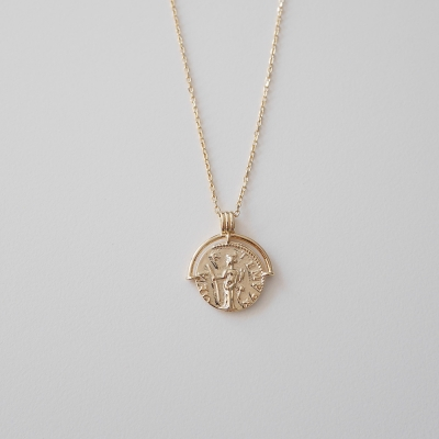 [925silver] vintage gold coin necklace 빈티지 골드 코인 목걸이