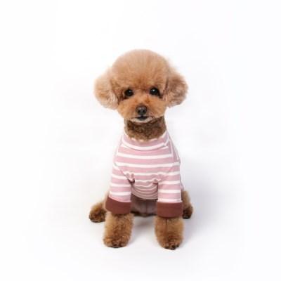 peekaboo stripe neck T (soft pink / brown)