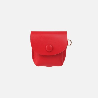 Button Shoulder AirPods Leather Case Red
