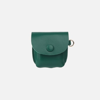 Button Shoulder AirPods Leather Case Green