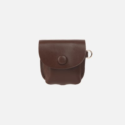 Button Shoulder AirPods Leather Case Chocolate Brown