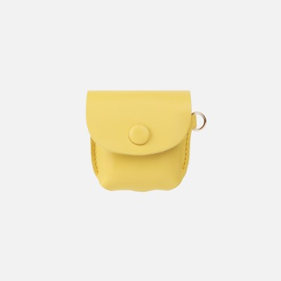 Button Shoulder AirPods Leather Case Yellow