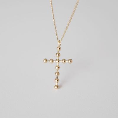 [925실버] 골드 볼 십자가 목걸이 (L) gold ball cross