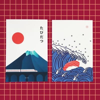 유니크 일본 디자인 엽서 2ea세트 M 후지산과 초밥