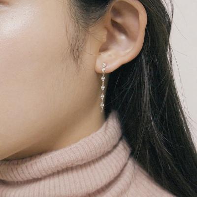[2컬러]chain drop silver earring