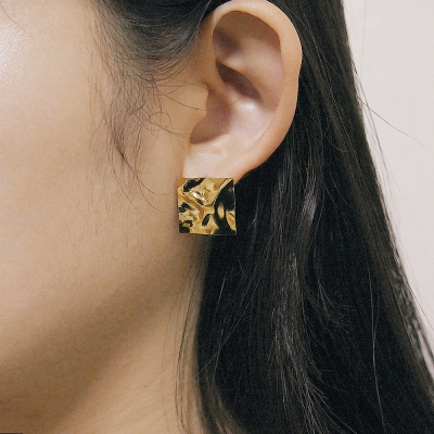 crushed square earring