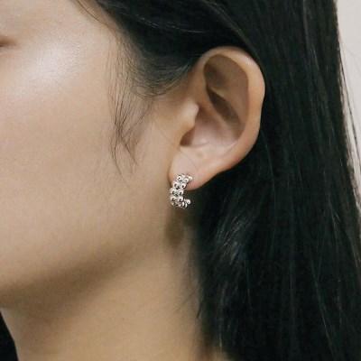 [2컬러]twin ball hoop earring