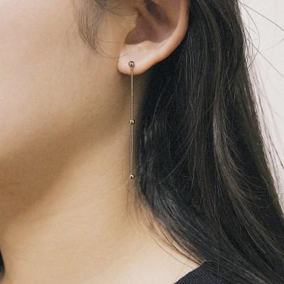 [2컬러]dot chain silver earring