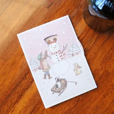 겨울 크리스마스 카드 - 눈사람의 모자
