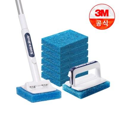 [3M]크린스틱 올인원 욕실청소용 핸들+롱핸들+리필8입_(1613629)