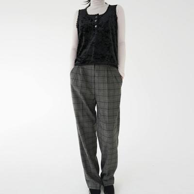 Loose-fit wool check slacks